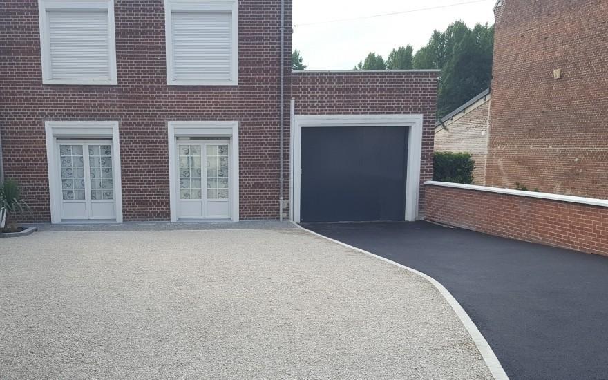Cr ation all e de garage en alv ostar enrob noir chaud albert - Allee de garage en enrobe ...