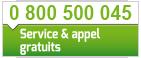 Numéro vert : 0 800 50 00 45