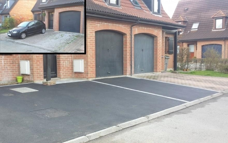 Exemple all e de garage enrob chaud et pav la couture r alis par maling - Pave allee de garage ...