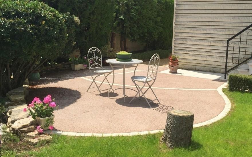 R alisation terrasse en b ton d sactiv et pav la couture r alis par brul - Pave de beton terrasse ...
